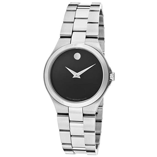 Movado Black Dial Stainless Steel Ladies Watch 0606558 *Light Wear*