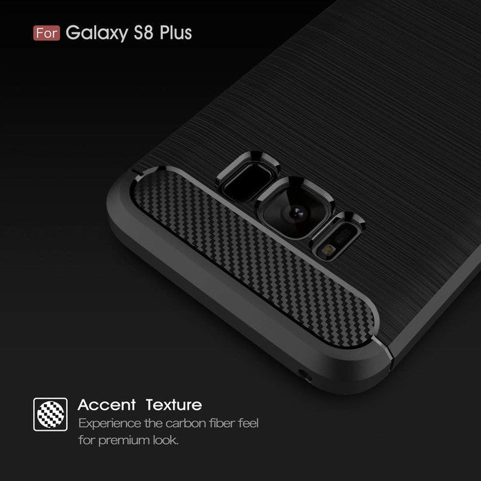 Ivencase Flexible Slim Rugged Silicone Case with Shock Absorption Carbon Fiber Design for Samsung Galaxy S8 Plus - Black with carbon