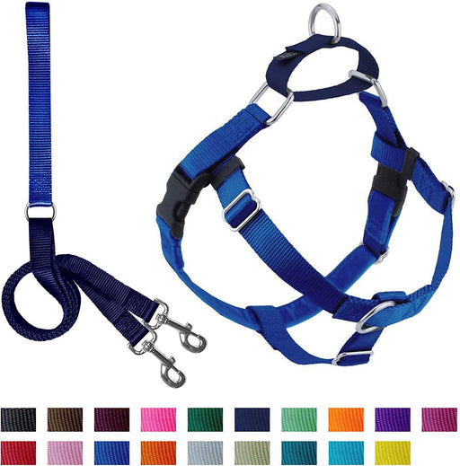 2 Hounds Design Freedom No-Pull Dog Harness with Leash, Large - Blues -