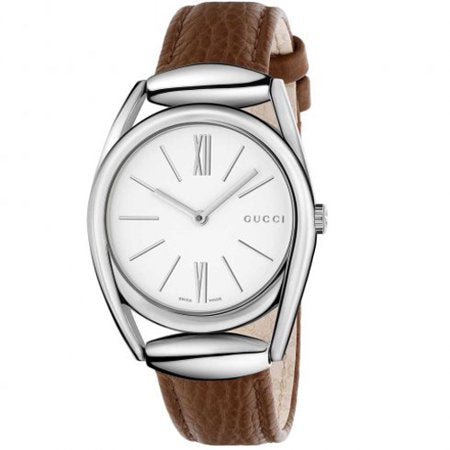 Gucci Men's Horsebit YA140401 Silver Leather Quartz Watch
