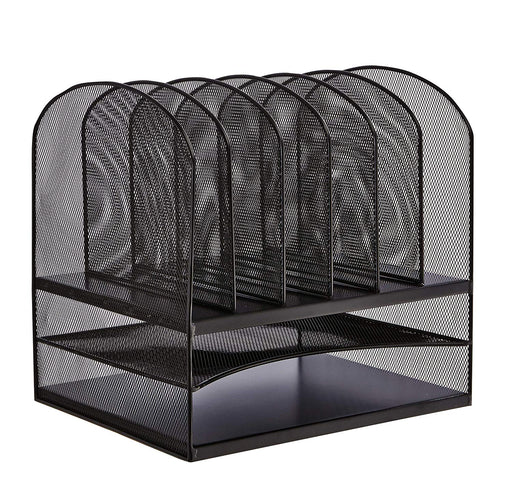 Safco 3255BL Desktop Organizer with 6 Vertical/ 2 Horizontal Sections, Black