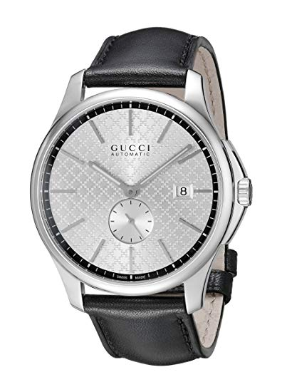Gucci G-Timeless Automatic Silver Dial Black Leather Strap Mens Watch YA126313 *AS-IS/SEE DETAILS*