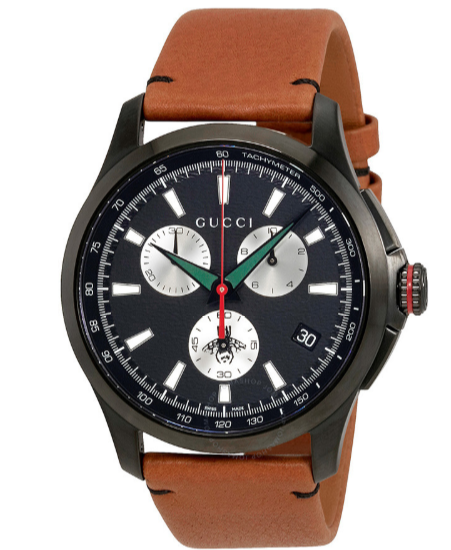 Gucci G-Timeless Black Dial Men's Chronograph Leather Watch YA126271