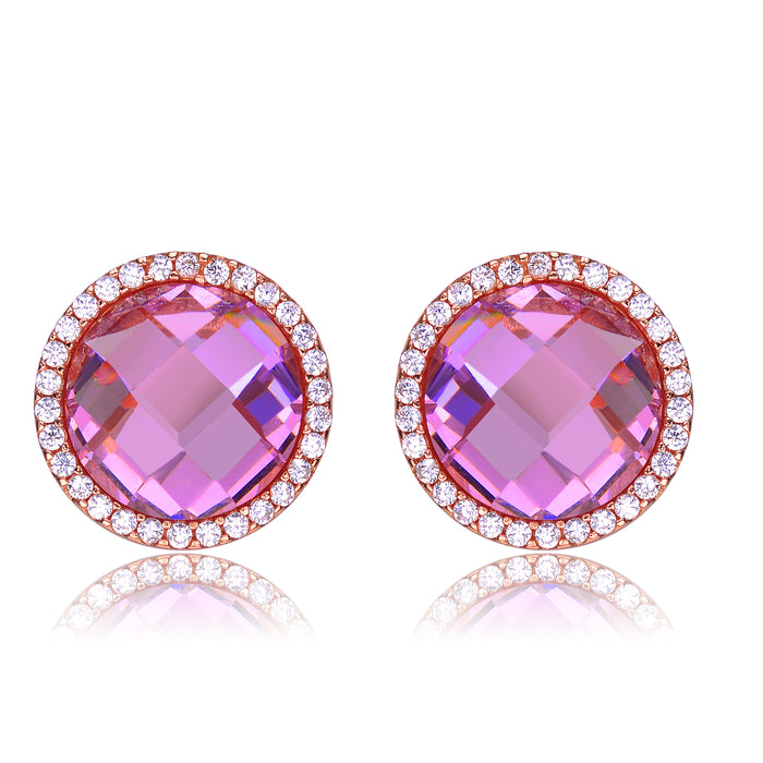 Genevive 18K Rose Gold over Silver CZ Earrings