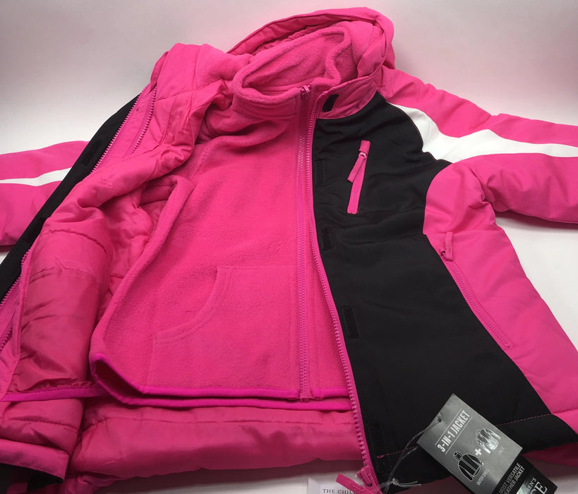 Girls Long Sleeve Colorblock 3-In-1 Jacket- Pink/White/Black- (Childs M 7/8)