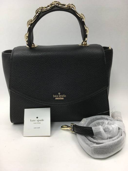 Kate Spade New York  Murray Street Kim Black Pebbled Leather Chain Top Handle