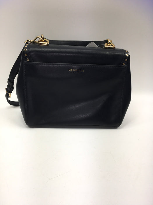 Michael Kors Black Leather Medium Ava Top Handle Satchel