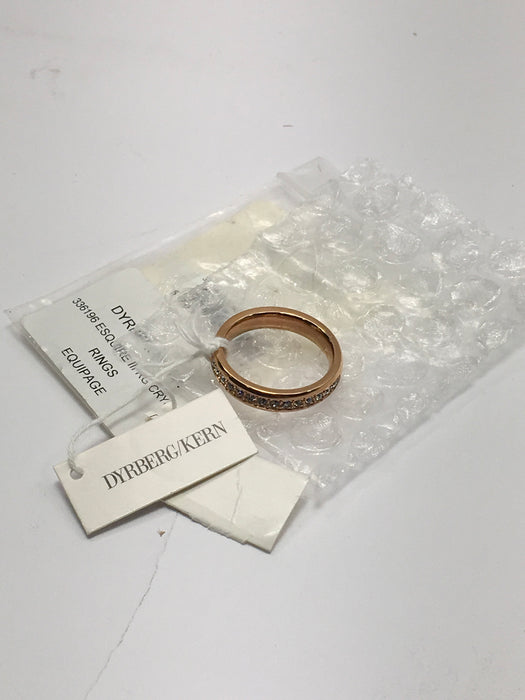 Dyrberg Kern Rose Gold Esquire III SG Crystal Ring - Size 8