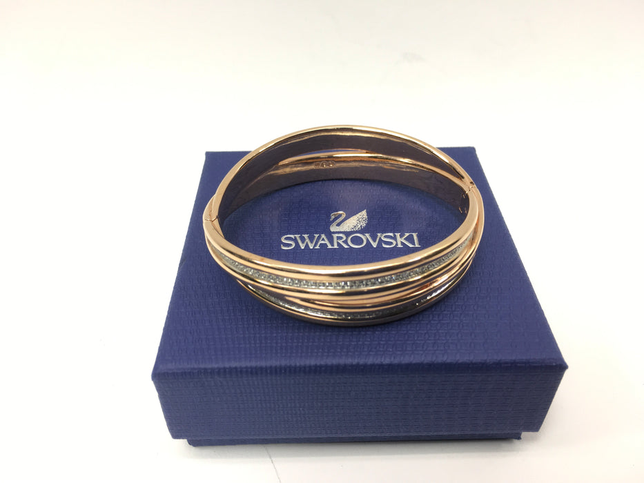 Swarovski Further Bangle, White, Rose Gold Plating