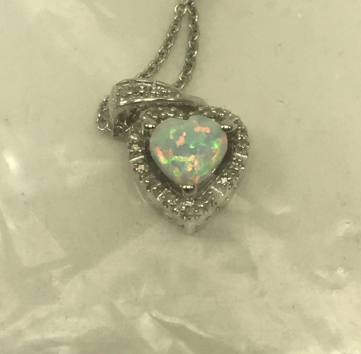 Sterling Silver Created Opal Heart with Diamond Pendant Necklace, 18""