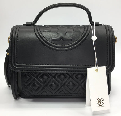 Tory Burch Fleming Quilted Leather Top Handle Satchel - Black