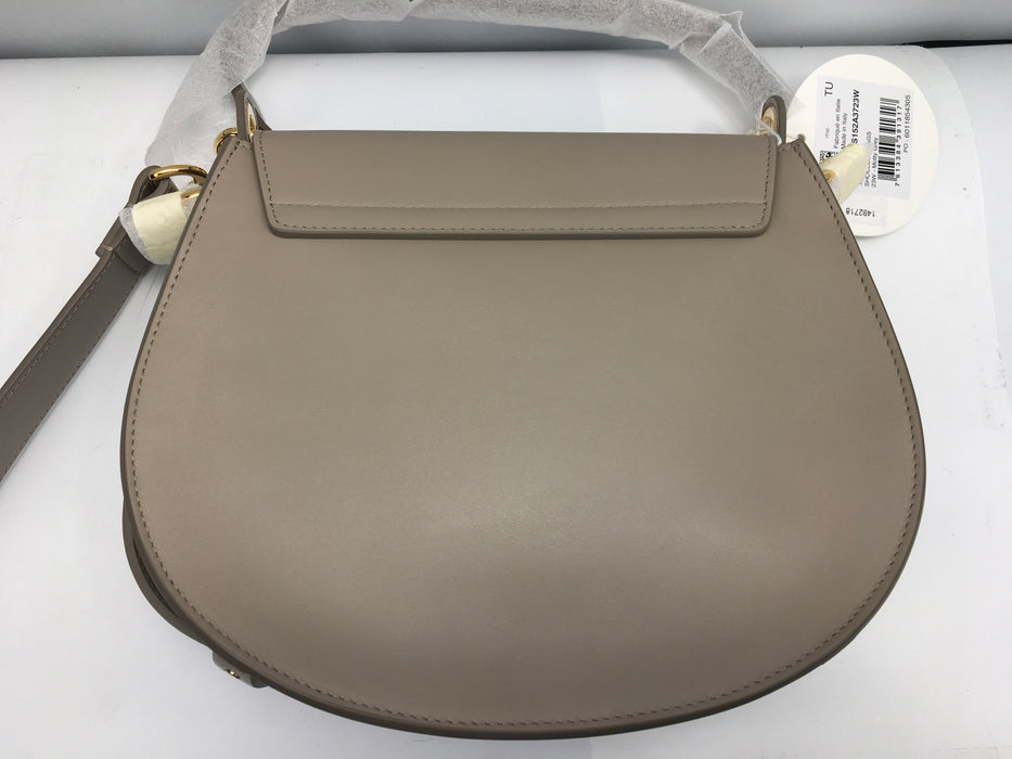 Large Tess round handbag in shiny & suede calfskin
