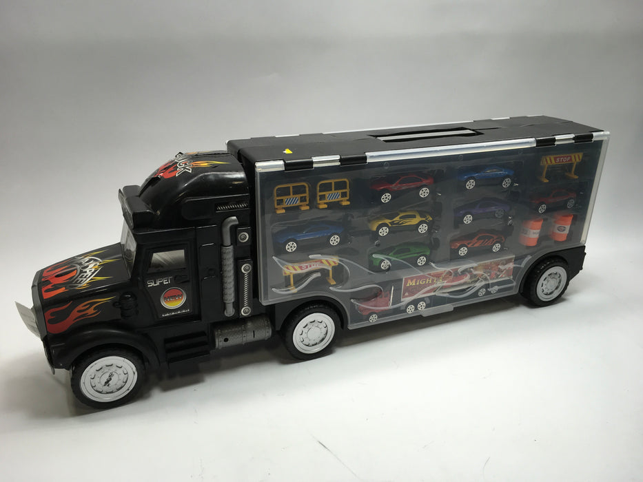 e317fb7fe8ef0 Play22 Toy Truck Transport Car Carrier - Black — Big Box Outlet Store