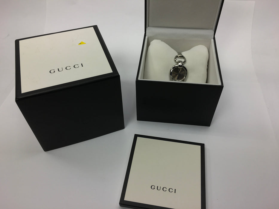 6ad62803930 Gucci Horsebit Collection Brown Dial Stainless Steel Ladies Watch YA139501   Light Wear on Bezel