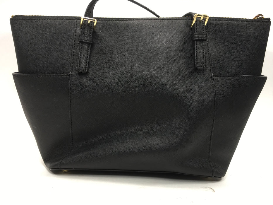 Michael Kors 30F4GTTT9L-001 Jet Set Large Top-Zip Saffiano Leather Tote - {Black}