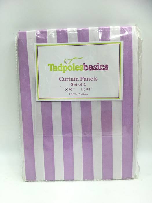 Tadpoles Stripe Curtain Panels, Set of 2, 63 Inch, Lilac