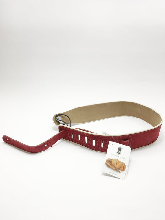 "Levy's MSS3 2"" Signature Series Brushed Suede Guitar Strap w/Cream Piping - Red"