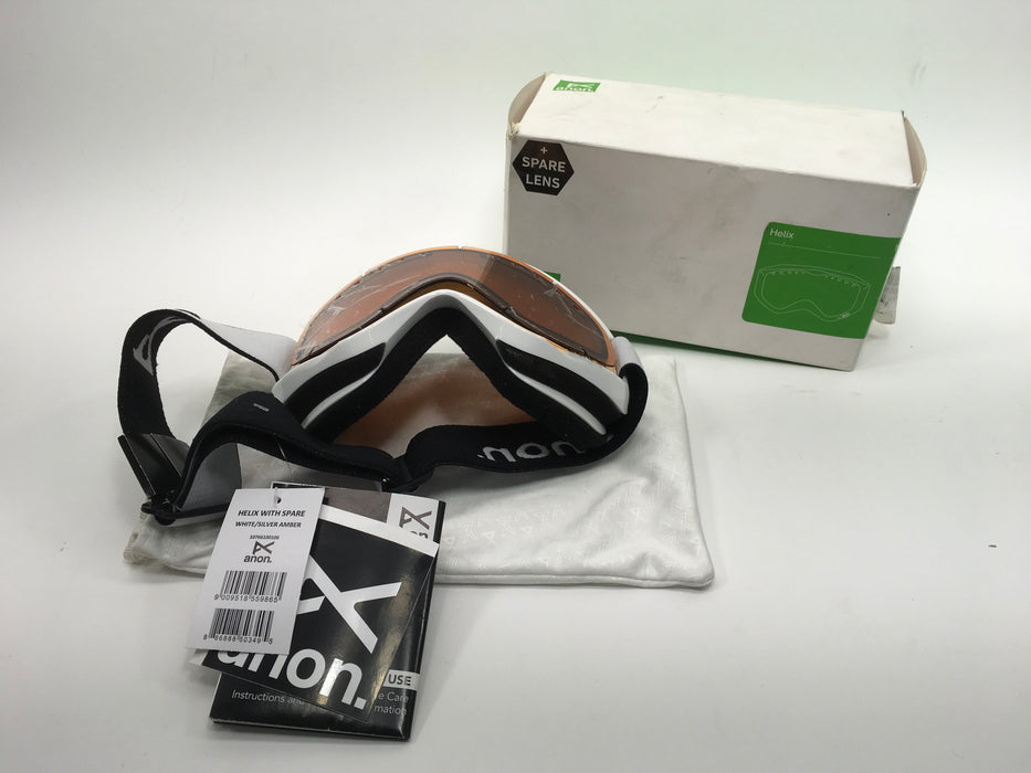 Anon Helix Snow Goggles - White with Silver Amber and Amber Lens