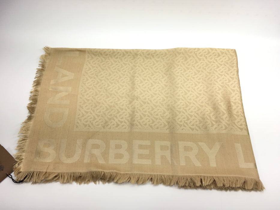 Burberry Monogram Silk Wool Jacquard Large Square Scarf- Honey