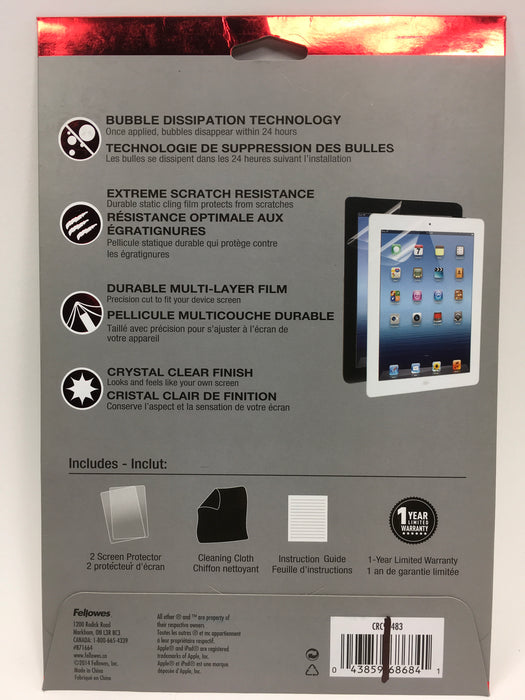 WriteRight Fitted Screen Protector Apple iPad 2/3/4