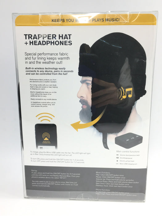 Exact Fit Trapper Hat W/ Wireless Headphones. S/M