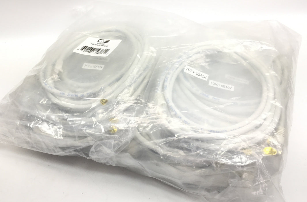 C&E 7 Foot Cat5e White Ethernet Patch Cable, 20-Pack (CNE53650)