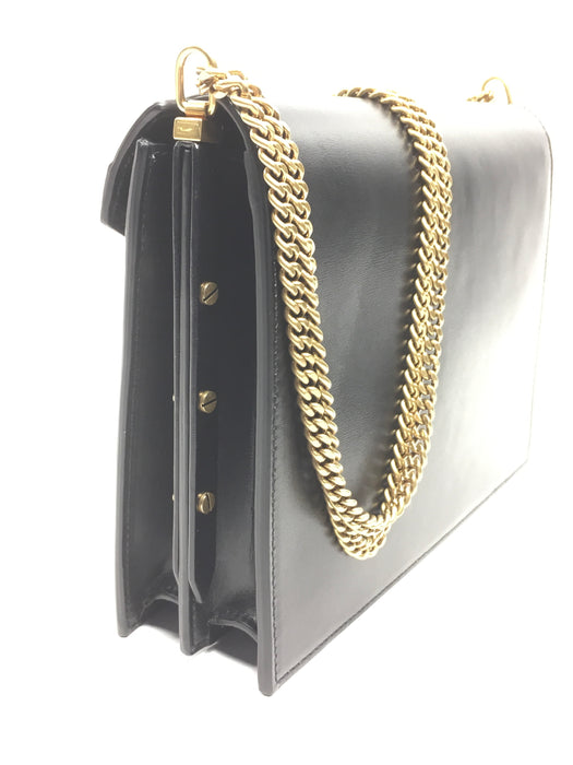 Saint Laurent CASSANDRA MONOGRAM CLASP BAG IN SMOOTH LEATHER -Black