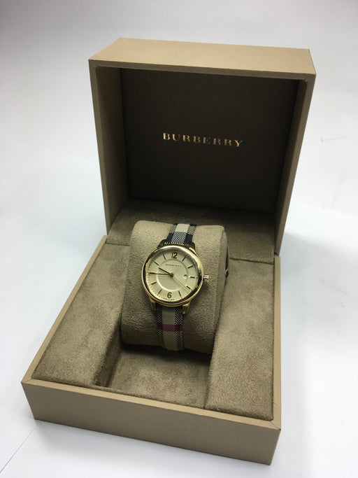 Burberry Ladies Gold-Tone Stainless Steel Jacquard Strap Watch