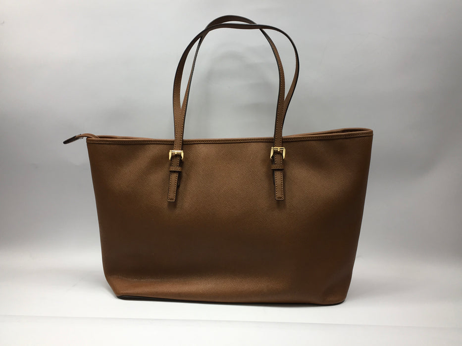 Michael Kors Saffiano Leather Medium Jet Set Travel Tote Bag - Brown *Light Blemishes*