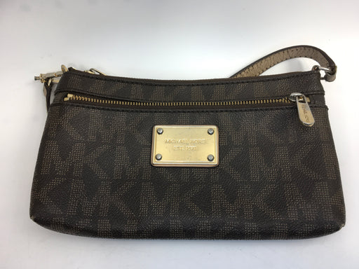 Michael Kors Jet Set Large Wristlet - Brown MK Logo PVC