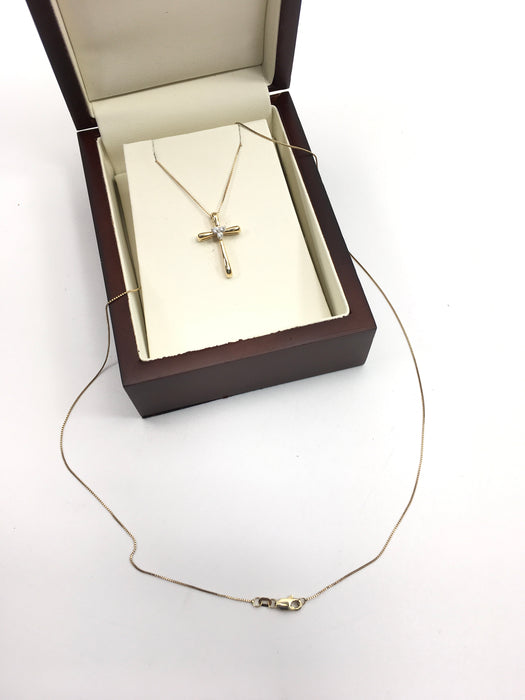 14kt Yellow Gold and Diamond Cross Pendant Necklace