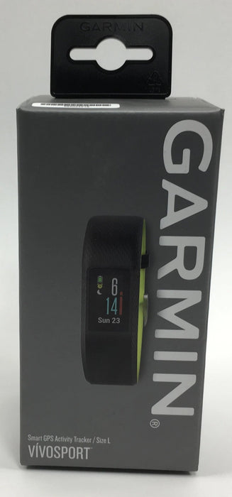 Garmin Vivosport Smart Activity Tracker with Wrist-Based Heart Rate and GPS -Black (Limelight), Large