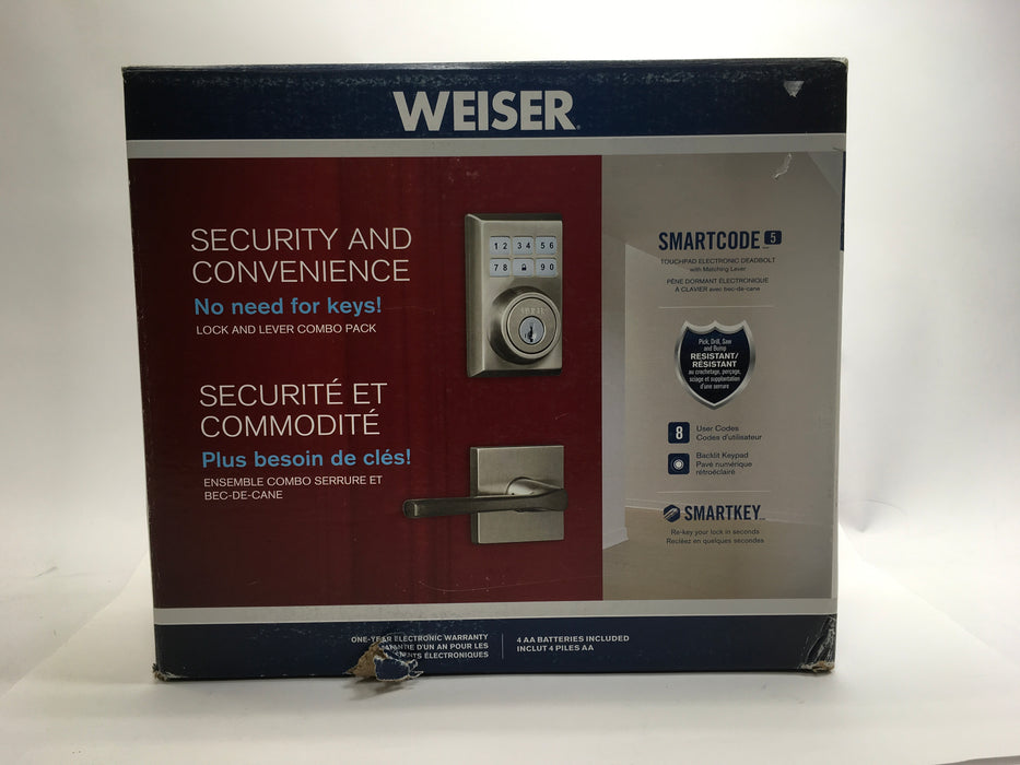 Weiser SmartCode 5 Electronic Deadbolt Featuring SmartKey, Keypad Door Lock, Contemporary Design, Satin Chrome (9GED14900-020)