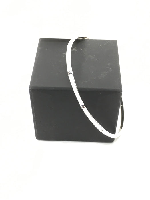 Sterling Silver Solid White Enamel Diamond-Accent Bangle Bracelet