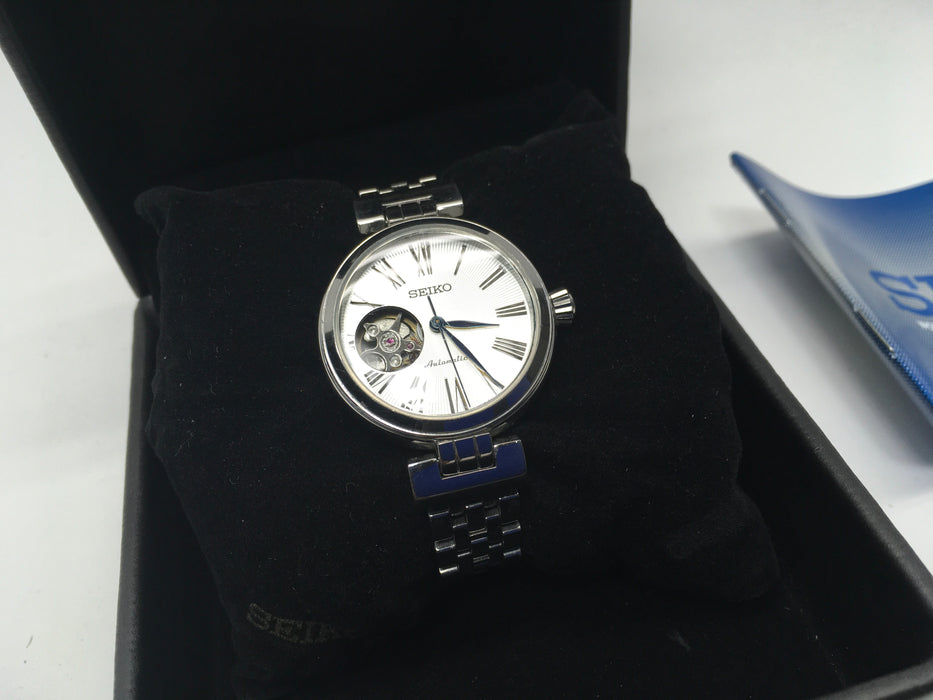 Seiko White Dial Stainless Steel Automatic Ladies Watch SSA863 *Light Wear*