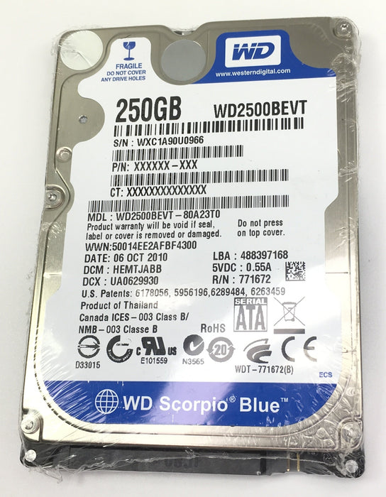 "Western Digital 250GB 2.5"" HDD WD2500BEVT"