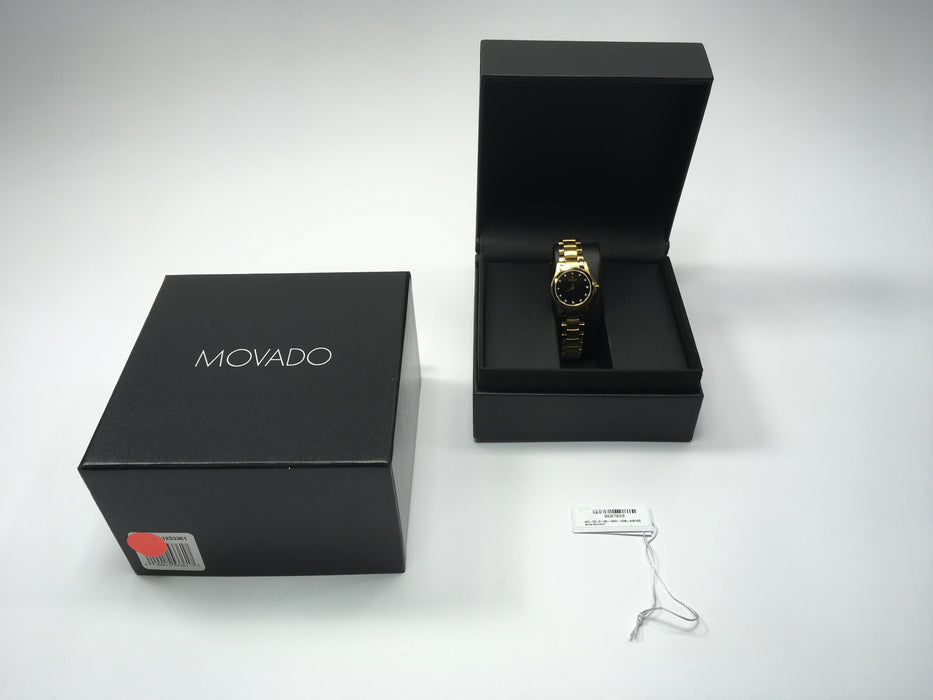 Movado Masion Black Dial Yellow Gold-Tone Ladies Watch 0607028 *Light Wear*