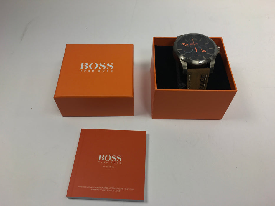 Hugo Boss Orange Paris Mens Black Dial Brown Leather Mens Watch 1513240