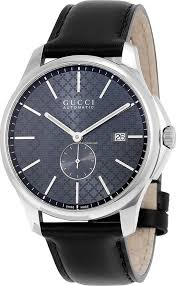 Gucci YA126319 Men's Timeless' Grey Dial Black Leather Strap Swiss Automatic Watch *Little Scratches on Strap*