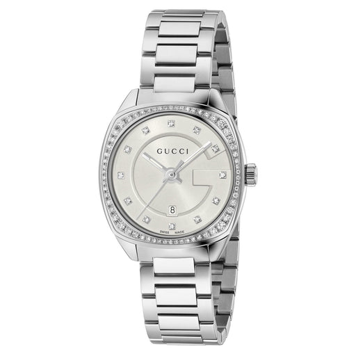 Gucci Women's GG2570 Silver-Tone Diamond White Dial and Diamond Bezel Bracelet Watch - Silver