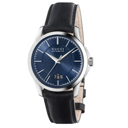 Gucci G-Timeless Automatic Blue Dial Black Leather Mens Watch YA126443 *Visible Wear*