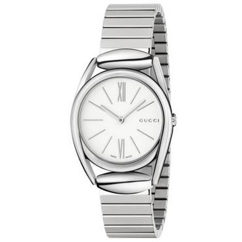 Gucci Horsebit New Small White Dial Stainless Steel Ladies Watch YA140505