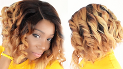 breanna wearing style short ombre colored lace closure bob wig