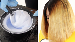 split photo of hair bleach in mixing bowl and breanna wearing a straight ombre lace closure wig