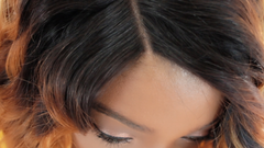 close up of ombre colored mrs rutters luxury body wave lace closure