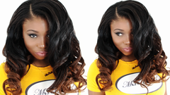 breanna wearing curly fun hair style with ombre brown caramel hair