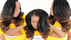 3 pictures of breanna wearing mrs rutters luxury body wave bundles ombre brown and curled