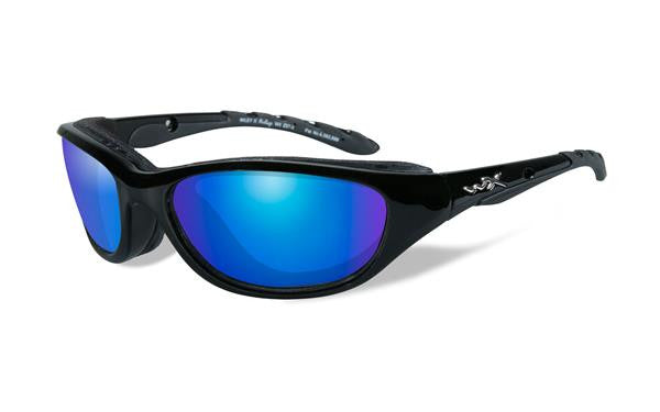 WILEY X 698 AIRRAGE TACTICAL SUNGLASSES POLARIZED BLUE MIRROR LENS/GLOSS BLACK FRAME