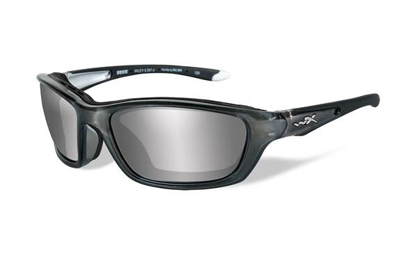 WILEY X 855 BRICK TACTICAL SUNGLASSES SILVER FLASH LENS/CRYSTAL METALLIC FRAME