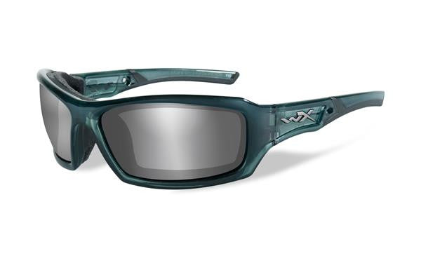 WILEY X CCECH01 ECHO TACTICAL SUNGLASSES SILVER FLASH LENS / SMOKE STEEL BLUE FRAME